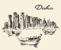 Doha skyline Dhow Qatar illustration drawn sketch Stock Photography