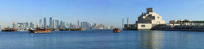 Doha skyline dhows and museum Royalty Free Stock Images