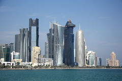 Doha skyline. Skyline of a financial and business district of Doha, the capital city of Qatar. View from across the West Bay Stock Photos
