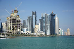Doha skyline. Skyline of a financial and business district of Doha, the capital city of Qatar. View from across the West Bay Stock Image
