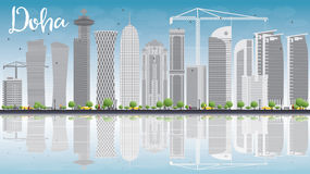 Doha skyline with grey skyscrapers and blue sky Stock Photography