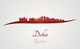 Doha-Skyline im Rot Lizenzfreie Stockfotos