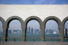 Doha skyline from the Museum of Islamic Art Royalty Free Stock Image