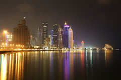 Doha skyline at night Stock Photography