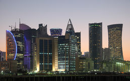 Doha skyline at night, Qatar Stock Photo