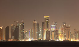 Doha skyline at night, Qatar Royalty Free Stock Photography