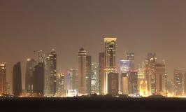 Doha skyline at night, Qatar Royalty Free Stock Photography