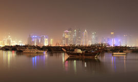 Doha skyline at night, Qatar Stock Images