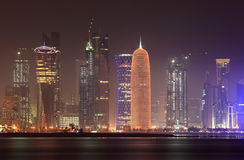 Doha skyline at night, Qatar Stock Images