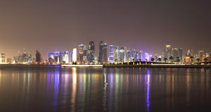 Doha skyline at night, Qatar Stock Image