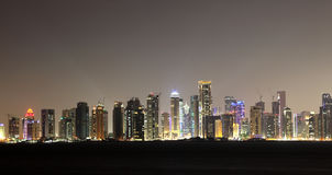 Doha skyline at night, Qatar Stock Photography
