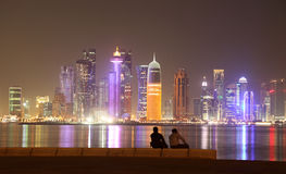 Doha skyline at night. Qatar Royalty Free Stock Photos