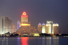 Doha skyline at night. Qatar Stock Images