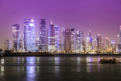 Doha. Skyline at night, Qatar, Middle East Royalty Free Stock Photos