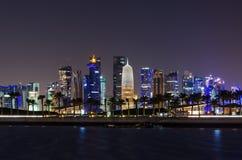 Doha skyline at night, Qatar, Middle East Royalty Free Stock Image
