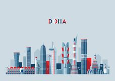 Doha skyline Qatar vector illustration flat design. Doha skyline, Qatar vector illustration, flat design vector illustration