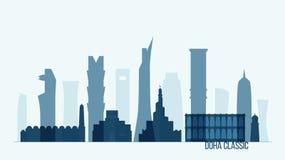 Doha skyline Qatar vector illustration flat design. Doha skyline, Qatar vector illustration, flat design royalty free illustration