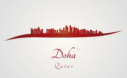 Doha skyline in red Royalty Free Stock Photos