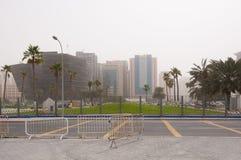 Doha skyline in sandstorm, Doha, Qatar Royalty Free Stock Photography