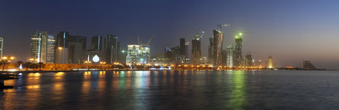 Doha Skyline at Sunrise, Qatar December 2008 Royalty Free Stock Photo