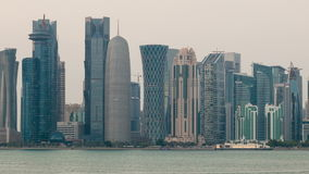 Doha skyline time lapse stock footage