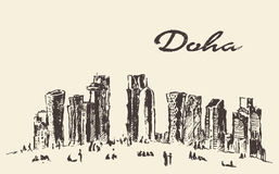 Doha skyline vector illustration hand drawn Royalty Free Stock Photography