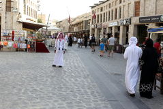 Doha souq shoppers Royalty Free Stock Images