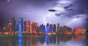 Doha at storm with lightning bolt, Qatar.  royalty free stock photo