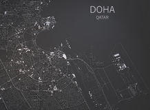 Doha streets and buildings 3d map, Qatar. Doha streets and buildings map satellite view on black, Qatar stock illustration