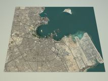 Doha streets and buildings 3d map, Qatar Royalty Free Stock Photo