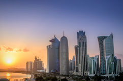 Doha at sunset Royalty Free Stock Images