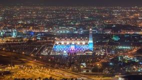 Doha timelapse του μουσουλμανικού τεμένους στο μουσουλμανικό Ισλάμ Αλλάχ Κατάρ, Μέση Ανατολή φω'των νύχτας φιλμ μικρού μήκους