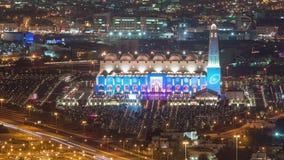 Doha timelapse van de moskee in moslimislam Allah Qatar, Midden-Oosten van nachtlichten stock videobeelden
