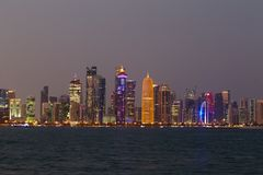 Doha towers with emir portrait Royalty Free Stock Photo