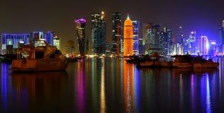 Doha västra fjärdhorisont Fotografering för Bildbyråer