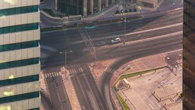 Doha view down timelapse video crossroad intersection night lights skycreapers Qatar, Middle East. Doha view down timelapse video crossroad intersection night stock footage