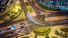 Doha view down timelapse video crossroad intersection night lights skycreapers Qatar, Middle East. Doha view down timelapse video crossroad intersection night stock video footage