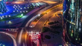 Doha view down timelapse video crossroad intersection night lights skycreapers Qatar, Middle East. Doha view down timelapse video crossroad intersection night stock video