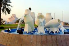 Doha waterpot fontein 2017 Stock Fotografie