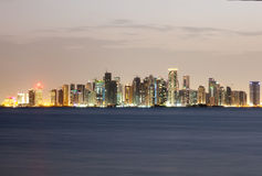 Doha West Bay Skyline at night. Qatar, Middle East. Skyline of Doha West Bay downtown illuminated at night. Qatar, Middle East stock image