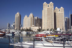 Doha Westbay. A yacht club with a famous skyline stock photos