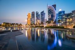 Doha zachodu zatoka Zdjęcia Royalty Free