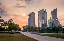 Doha zachodu zatoka Obrazy Stock