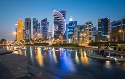 Doha zachodu zatoka Fotografia Royalty Free