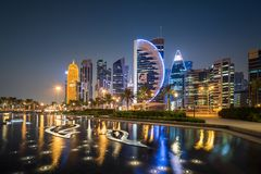 Doha zachodu zatoka Zdjęcia Stock