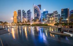 Doha zachodu zatoka Zdjęcie Stock