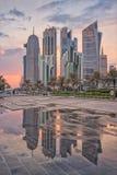 Doha zachodu zatoka Fotografia Stock