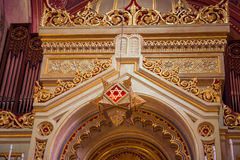 Dohany Street synagogue. Budapest, Hungary - September 17, 2015: Interior of the Great Synagogue in Dohany Street. The Dohany Street synagogue is the largest stock photography