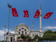 Dohlmabace Mosque Turkish Flags Stock Images