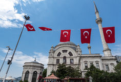 Dohlmabace Mosque Turkish Flags Royalty Free Stock Image